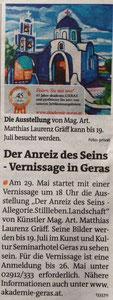 Matthias Laurenz Gräff. Vorbericht in den Bezirksblättern Horn (Woche 19)