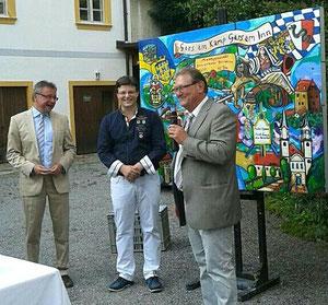 Bürgermeister Martin Falk (Gars am Kamp),Matthias Laurenz Gräff  und der 1. Bürgermeister NorbertStrahllechner (Gars am inn)