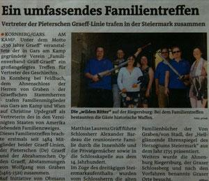 Matthias Laurenz Gräff. Bericht in den Bezirksblättern (Woche 23)