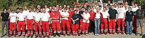 Rettungstechnisches Praktikum Langau (Sommer 2008), Matthias Laurenz Gräff vorne ganz links in Zivilkleidung, Foto RK Horn