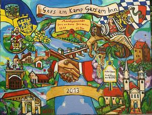 Matthias Laurenz Gräff. Partnerschaftsbild Gars am Kamp - Gars am Inn, 130x170 cm