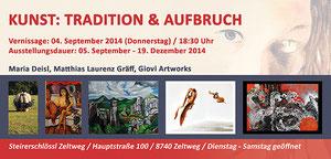 """Einladung Matthias Laurenz Gräff """"Kunst, Tradition und Aufbruch"""", Ausstellung Steirerschlössl Zeltweg."""