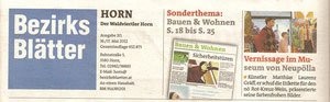 Coverbericht in den Bezirksblättern (Waldviertler) Horn (Ausgabe 20) Copyright by Hilda Schwameis