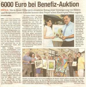 Pressertikel in der NÖN, Bezirk Horn. Matthias Laurenz Gräff, Charity Preyer sches kinderspital