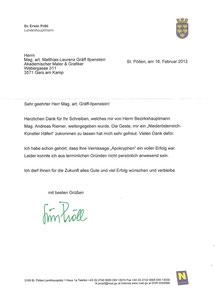 Persönlicher Brief von Landeshauptmann Dr. Erwin Pröll an Matthias Laurenz Gräff anlässlich der Ausstellung in Tulln