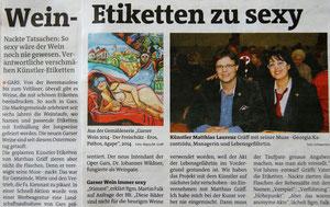 """Matthias Laurenz Gräff, Garser Wein """"Bezirksblätter Horn"""" (Waldviertler), Ausgabe 18, Copyright by Hilda Schwameis"""