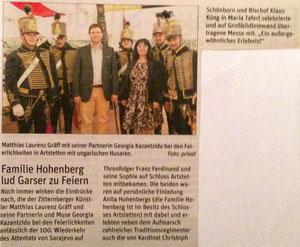 Matthias Laurenz Gräff. Bericht in der NÖN Horn (Woche 28), Copyright by Martin Kalchhauser