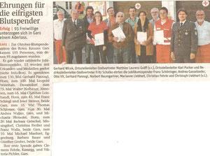 Blutspenderehrung (Herbst 2012). Bericht in der NÖN Horn (Woche 45) Copyright by Gerhard Baumrucker, Matthias Laurenz Gräff zweiter von rechts