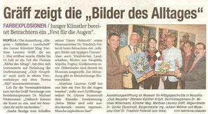 Matthias Laurenz Gräff. Ausstellungsbericht in der NÖN Horn (Woche 19) Copyright by Martin Kalchhauser