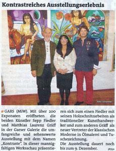 Matthias Laurenz Gräff. Pressebericht in den Bezirksblättern (Waldviertler) Horn (Ausgabe 45) Copyright by Petra Schartner