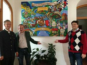 Matthias Laurenz Gräff mit Georg Thanner (3. Bürgermeister von Gars am Inn) und Gerald Steindl (geschäftsführender Gemeinderat von Gars am Kamp)