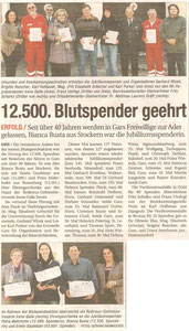 Blutspenderehrung (Winter 2012). Bericht in der NÖN Horn (Woche 7) Copyright by Gerhard Baumrucker,Matthias Laurenz Gräff  ganz rechts