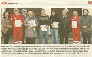 Blutspenderehrung (Winter 2012). Bericht in der NÖN Horn (Woche 7) Copyright by Gerhard Baumrucker, Matthias Laurenz Gräff ganz rechts