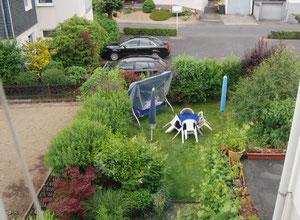 Mein linker Garten von oben gesehen
