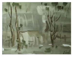 Spring evening in the village  /  Frühlingsabend im Dorf  22,5x30cm 2007