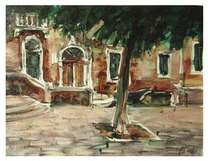 Venezianische Landschaft mit Baum  / Venetian landscape with tree    48x36cm  2013