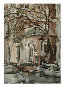 Bei alter Kirche  /  Near old church  41,5x29,5cm  2016