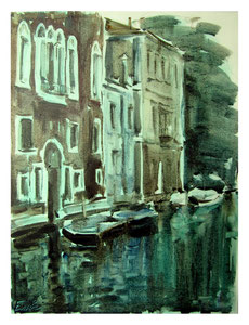 Abend am Stadtrand von Venedig   /   Evening on the outskirts of Venice    48x36cm  2013