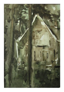 House under the pines   /  Haus unter den Kiefern 31,5x21,5cm 2007