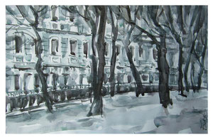 Boulevard im Winter  /  Boulevard in winter   41x26,5cm  2016