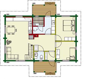 Kuusamo Holzhaus in Blockbauweise - EG