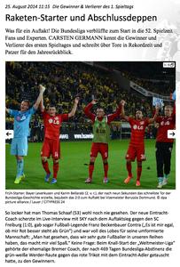1. Fußball Bundesliga, arcor.de, 25.08.2014