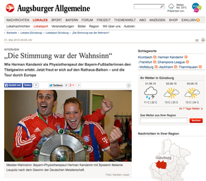 Deutscher Meister FC Bayern München, Augsburger Allgemeine