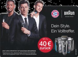 P&G, 2017, 05'2017, 'Braun', Silhouettenkarte, Version 2 '40 Eur zurück'