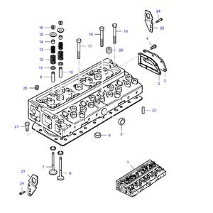 Cabeza para el motor y sus componentes.