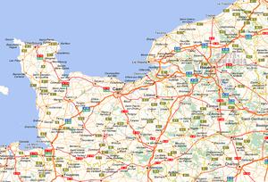 Carte routière de la normandie