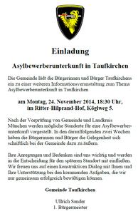 Der Originaltext der Einladung der Gemeinde Taufkirchen