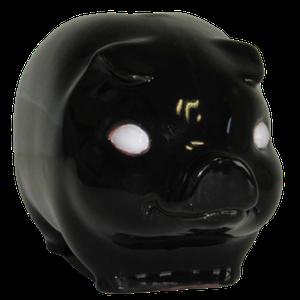 Tirelire modèle cochon couleur noir vu de face