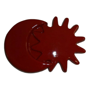 Petite lune avec soleil émaillé rouge diamètre 16 cm
