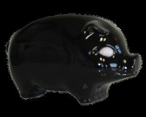 Tirelire modèle cochon couleur noir vu de côté