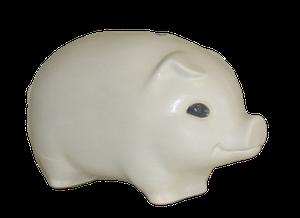 Tirelire modèle cochon couleur blanc vu de côté