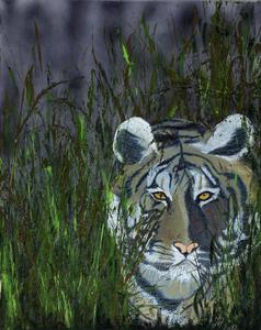 Tiger, Farbstift auf Leinwand mit Gräsern