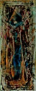 Siam Katze in blau, Spachteltechnik, 50x20 cm. 90.-