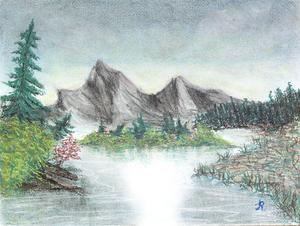Geborgen, Pastell-kreide auf Papier gerahmt, 40x50 cm. 110.-
