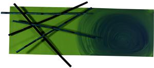 Mikado, Acryl auf Leinwand mit Bambus, 30x90 cm. 250.-
