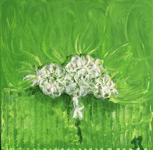 Blütenzauber, Acryl auf Leinwand mit St. Galler Spitze, 20x20 cm. 120.-