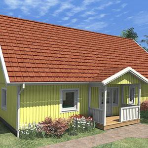 Modell Malmö 160 Holzhaus mit überdachtem Eingangsbereich von Berg-Schwedenhaus