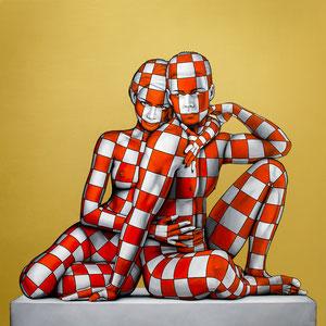 Danilo Martinis, L'amante, Oil on canvas, 100x100 cm