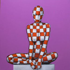 Danilo Martinis, Woman in lilac Oil on canvas, 80x80 cm