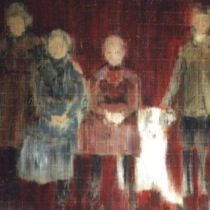 Familienbild mit Hund, 120x160cm, Acryl auf Wellpappe