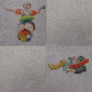 "Flotsam/Jetsam Installation, graphite, acrylic and oil on birch panel, 80"" x 80"""