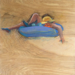 """Lazy River  2.0,  2017, oil on birch panel,  24"""" x 24"""" x 2""""       private collection"""