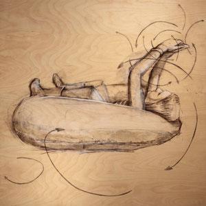 "Lazy River  6.2,  2017, oil on birch panel,  45"" x 45""x 2"""