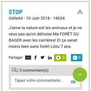 Lilou, 7 ans : veut conserver la forêt