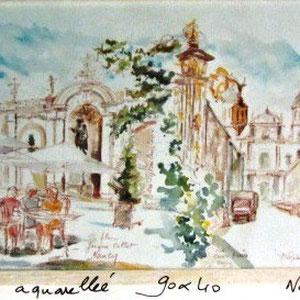 155- La rue Callot, la rue des Dominicains, la Cathédrale au fond.   Nancy