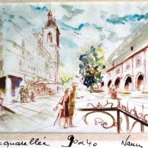 154-La rue St-Thiébaut, le Musée Lorrain ,la Porte de la Craffe.  Nancy; aquarelle 85X33